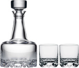 "Orrefors Decanter & Double Old Fashioned Glasses ""Erik"" (Set of 2)"