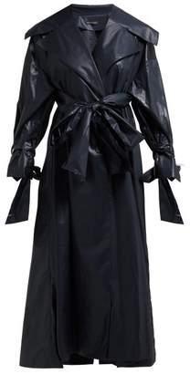 Vika Gazinskaya Tie-panel Coated-cotton Coat - Womens - Black
