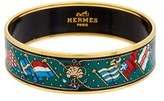 Hermes Green Enamel Wide Bangle.