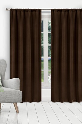 Duck River Textile Ira Solid Blackout Curtain Set - Chocolate