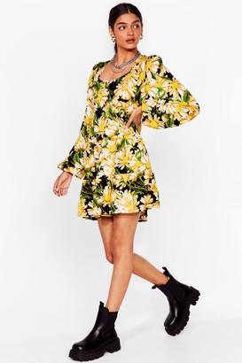 Nasty Gal Womens Get Some Sunflower Floral Mini Dress - Black - 6, Black