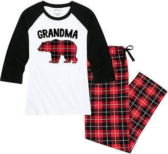 Buffalo David Bitton Nap Chat Family Women's Sleep Bottoms WHITE/BLACK|BUFFALO - White & Black Plaid 'Grandma' Bear Pajama Set - Women & Plus