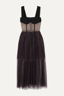 Rasario Tiered Glittered Polka-dot Tulle And Cady Gown - Black