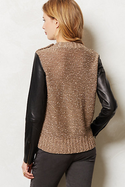 Anthropologie Leather Sleeve Pullover