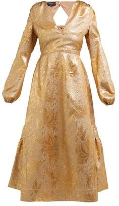 Rochas Metallic Tulip-brocade Midi Dress - Womens - Gold