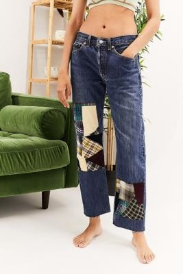 Urban Renewal Vintage Patchwork Light Wash Jeans - Blue XS at Urban Outfitters