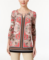 JM Collection Petite Printed Chain-Detail Keyhole Tunic, Only at Macy's