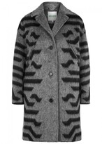 Kenzo Tiger-print Wool And Mohair Blend Coat
