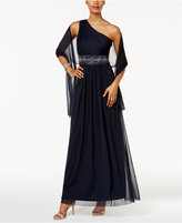 Jessica Howard Embellished One-Shoulder Gown and Scarf