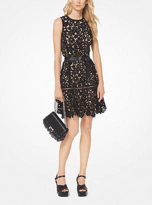 MICHAEL Michael Kors MK Embellished Floral Suede Dress - Black/silver - Michael Kors