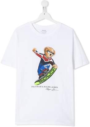 Ralph Lauren Kids TEEN snowboarding bear T-shirt