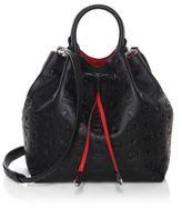 MCM Klara Mono Textured Leather Bucket Bag