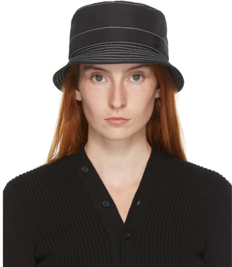 Maison Michel Black and White Topstitched Axel Bucket Hat