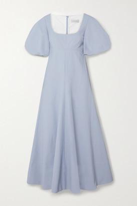 Lee Mathews Queenie Linen And Cotton-blend Midi Dress - Sky blue
