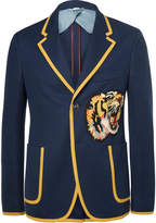 Gucci Blue Slim-Fit Appliquéd Cotton Blazer