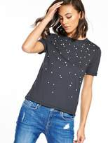 Miss Selfridge Pearl Placement T-shirt With Back Tie - Navy