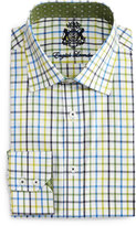 English Laundry Check Long-Sleeve Dress Shirt, Blue/Lime/Green