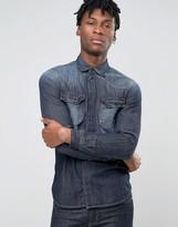 Sisley Denim Shirt with Western Pocket Detail in Regular Fit