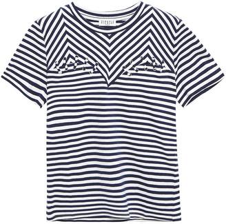 Claudie Pierlot Lace-up Striped Cotton-jersey T-shirt