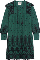 Sea Broderie Anglaise Cotton Dress - Forest green