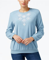 Alfred Dunner Textured Embroidered Sweatshirt, Only at Macy's