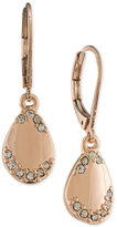 Carolee Rose Gold-Tone and Crystal Teardrop Drop Earrings