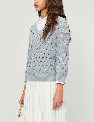 Brunello Cucinelli Crochet cotton-blend knit jumper