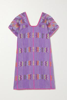 Pippa Embroidered Striped Cotton Kaftan - Purple