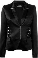 Jeremy Scott zip & strap detail blazer - women - Cotton/Polyester/other fibers/Rayon - 40