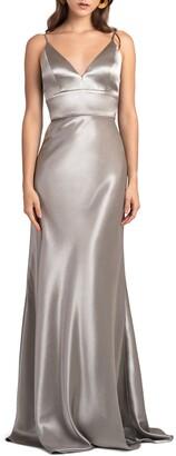 Jenny Yoo Brenna V-Neck Satin Crepe Gown