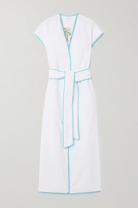 Loretta Caponi Sara Belted Embroidered Cotton-terry Kimono - White