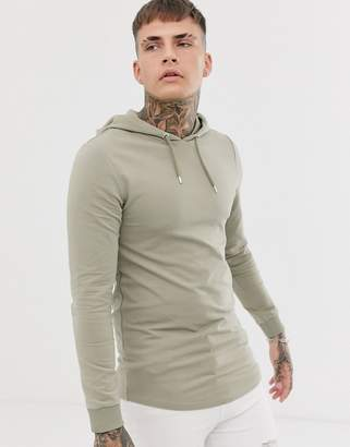 Asos Design DESIGN muscle hoodie with curved hem in khaki-Green