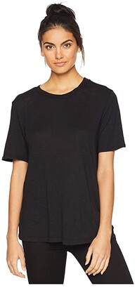Splendid Zoe Short Sleeve Cotton Modal Slub Crew Neck (Black) Women's Clothing