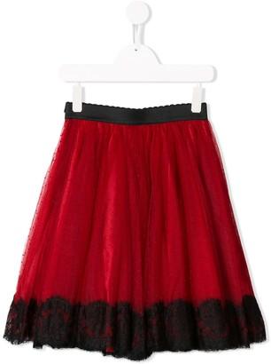 Dolce & Gabbana Kids Point D'esprit And Lace Midi Skirt