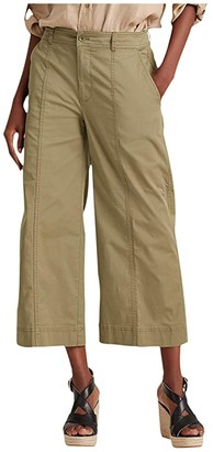 Lauren Ralph Lauren Cotton Twill Wide-Leg Pants (Dry Olive) Women's Casual Pants