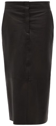 Raey Elasticated-back Leather Pencil Skirt - Black