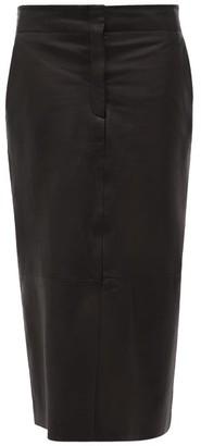 Raey Elasticated-back Leather Pencil Skirt - Black