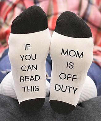 Stamp Out Online Women's Socks white - White Small 'Mom Is Off Duty' Socks - Women