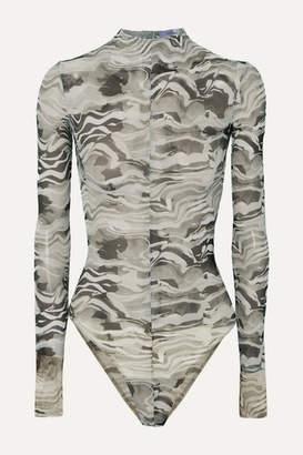 Thierry Mugler Open-back Printed Stretch-mesh Bodysuit - Gray