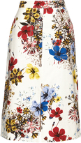 Erdem Carmel Flora-print cotton-canvas midi skirt
