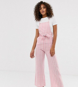 Glamorous Tall pinafore jumpsuit in textured stripe-Pink
