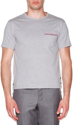 Thom Browne Short-Sleeve Logo Pocket T-Shirt
