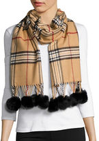 Lord & Taylor Fringed Fur Pom Pom Plaid Scarf