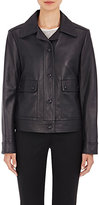 Helmut Lang WOMEN'S LEATHER JACKET-NAVY SIZE P