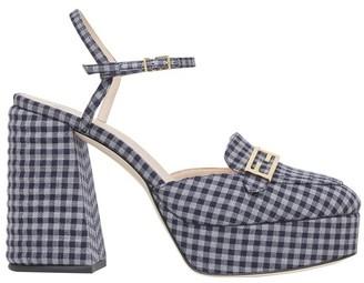 Fendi Grey Vichy fabric Promenade loafer