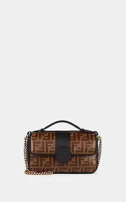 "Fendi Women's ""Double F"" Coated Canvas & Leather Shoulder Bag - Tabacco, blk"