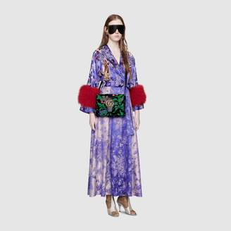 Gucci Floral jacquard wrap dress with feathers