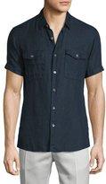 Theory Short-Sleeve Linen Shirt, Eclipse