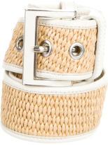 Prada Straw Leather-Trimmed Belt
