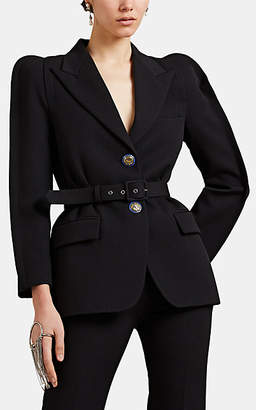 Givenchy Women's Rounded-Shoulder Twill Belted Blazer - Black